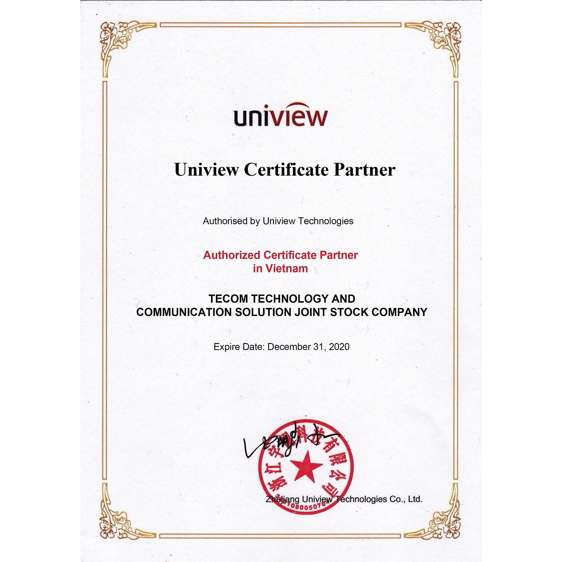 TECOM - Nhà nhập khẩu và đối tác chính thức của Uniview tại Việt Nam